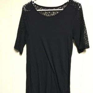 Old navy black mid sleeve tunic with lace medium